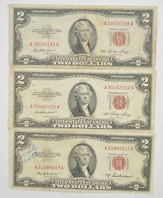Lot (3) Red Seal $2.00 US 1953 or 1963 Notes - Currency Collection *298