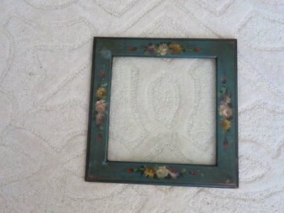 GORGEOUS Old Vintage French Wood PICTURE FRAME Hand Painted Roses & Flowers