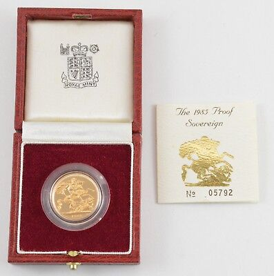 1985 United Kingdom Gold Proof Sovereign - With Box & Paper - OGP *7448