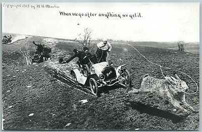 Exaggerated Rabbit Car Chase Antique Real Photo Postcard Rppc