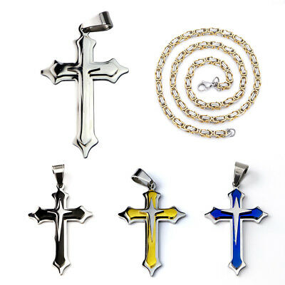 "Fashion Mens Stainless Steel Cross Pendant 24"" Necklace Byzantine Chain with box"