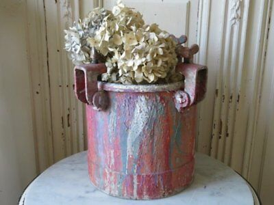 OMG Old Vintage Large Metal PAINT MIXING CAN Perfect Patina PINK Drips Repurpose