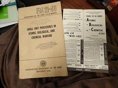 WWII US Army Defense Against Chemical Attack Basic Field Man. FM 21-40 bomb