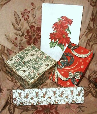 LOT of 4, 1940s Christmas Boxes Poinsettia Holly Wreaths Winter Scene Assorted