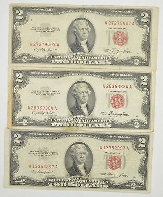 Lot (3) Red Seal $2.00 US 1953 or 1963 Notes - Currency Collection *265