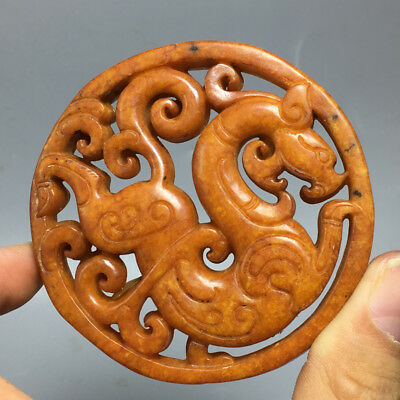 69g Old Chinese Exquisite Hand-carved Dragon carvings jade Pendan a34