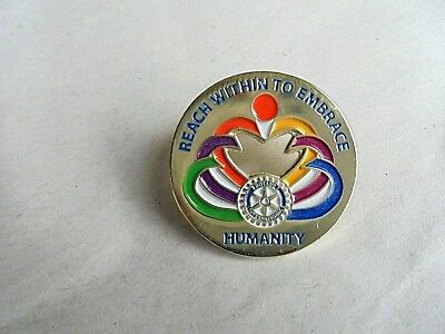 Vintage Rotary International Reach Within To Embrace Humanity Lapel Pin