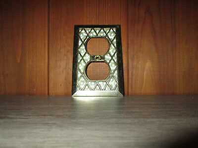 Vintage Faux Mother of Pearl Outlet Cover Lattice Diamond