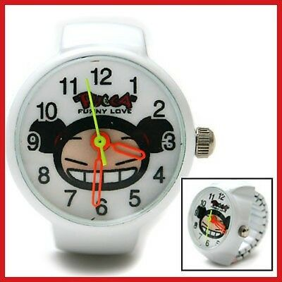 Pucca Cute Stainless Ring Finger Watch :White RARE