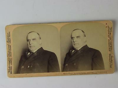 LOT: Four 1898-1900 STEREOVIEW CARDS of PRESIDENT MCKINLEY & WIFE~