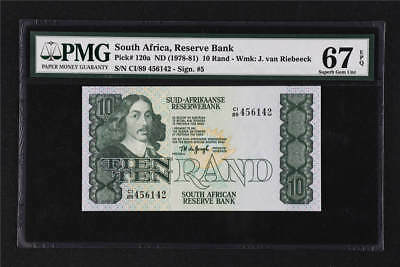 1978-81 South Africa Reserve Bank  10 Rand Pick# 120a PMG 67 EPQ Gem UNC