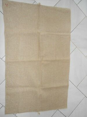 Antique french THICK Linen RED Stripes TOWEL monograms L L.I