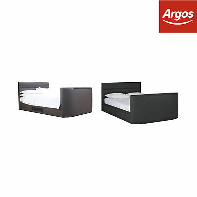 Argos Home Gemini Leather Effect TV Bed Frame - Choice of Size and Colour