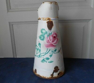 Antique FRENCH Enamelware Floral BODY PITCHER  w/ PINK ROSE