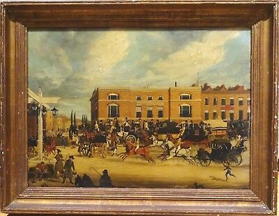 19th Century London Street Scene Elephant & Castle Horse Carriages James Pollard
