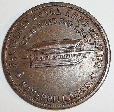 Vintage @ 1900 Masonic One Penny Coin Token Pentucket Royal Arch Haverhill MA