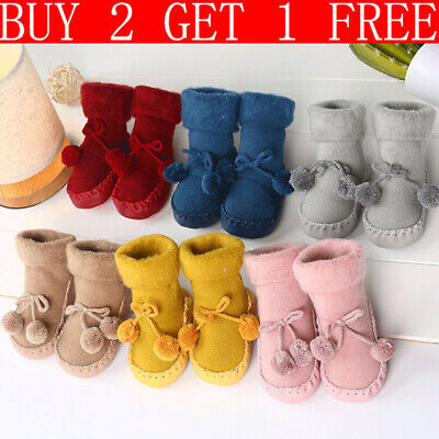 Baby Toddler Kids Anti-slip Crawling Socks Shoes thicken Slipper Boots Christmas