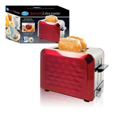 900W 2-Slice Extra Wide S/S Red Diamond Toaster 7 Heat Settings Bagel Function