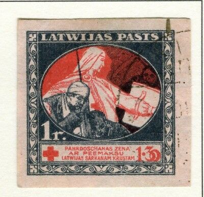 LATVIA; 1920 early Red Cross issue fine IMPERF used 1R. value