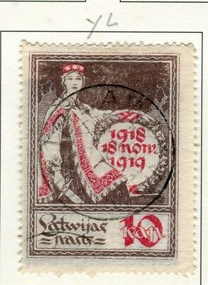 LATVIA; 1919 Independence Anniv. issue fine used 10k. value Type YL