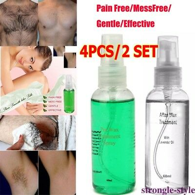 4pcs Smooth Body Hair Removal Spray Liquid Pre&After Wax Treatment 60ml/bottle