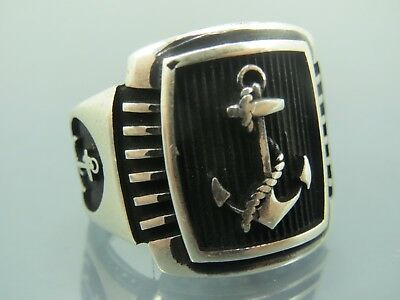 Turkish Handmade Jewelry 925 Sterling Silver Anchor Desing Men's Ring Sz 8