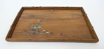 Signed Antique 19thC Japanese Meiji Period Inlayed Wooden Tray