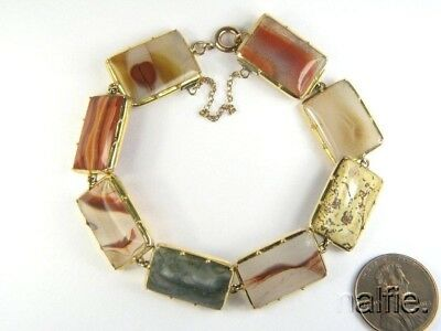 FINE QUALITY ANTIQUE ENGLISH 15K GOLD AGATE BRACELET c1830