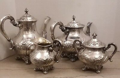 Reed and Barton Lamerie 4 Piece Silverplate Tea/Coffee Set 5600C4 Hand Chased