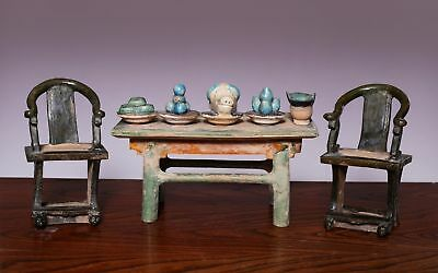 A Group of Chinese Antique SANCAI Glaze Pottery Chair Bronze Table Ming Dynasty