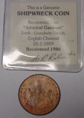 1808 India shipwreck coin from the Admiral Gardner with MR Roberts ticket, Fine.