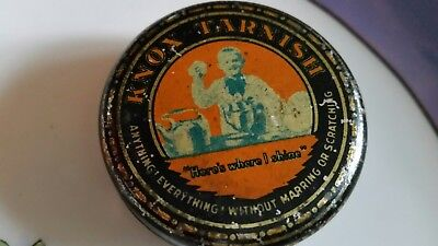 Antique Tin litho Box CONTAINER Knox Polish Tarnish Cleaner advtsg collectibles