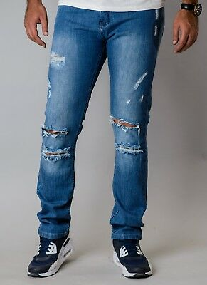 New Mj Brand Mens Double Knee Ripped Mid Blue Skinny Jeans