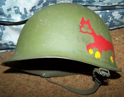 M-1 Helmet Shell With Painting, M-1944 Chin Strap, U.s. Issue *nice*