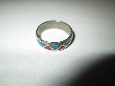 Vintage Men's Ring MOSAIC INLAY BLUE & RED Size 8.5