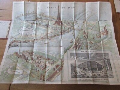 Exposition Universelle 1889 Panorama Souvenir Grand Hotel Plan Tour Eiffel Karl