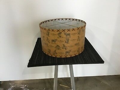 "L L Bean company wildlife theme custom lamp shade new old stock 19"" x 12"" large"