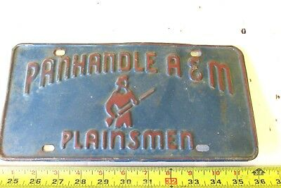 Old  Panhandle A&m Plainsmen Goodwell Oklahoma License Plate Tag