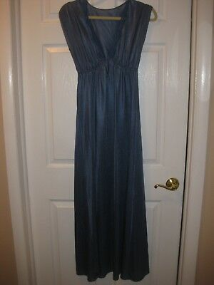 Vintage L Blue Long Silky Nightgown