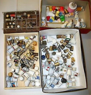 Estate Lot of 190 Assorted Sewing Thimbles