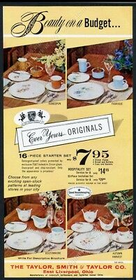 1964 Taylor Smith Taylor plate cup 4 pattern Autumn Harvest etc vintage print ad