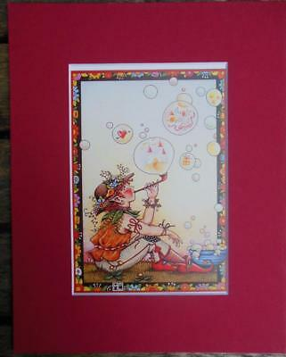 Mary Engelbreit Print Matted 8 x 10 Pixie Elf Bubble Pipe