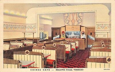 BELLOWS FALLS, VT, CHIMES ART DECO CAFE INTERIOR LINEN ADV PC, WORKERS c 1940's