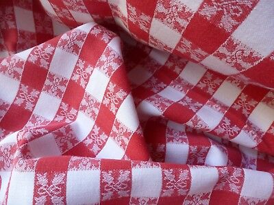 Vintage French Bistro Red And White Check Tablecloth.