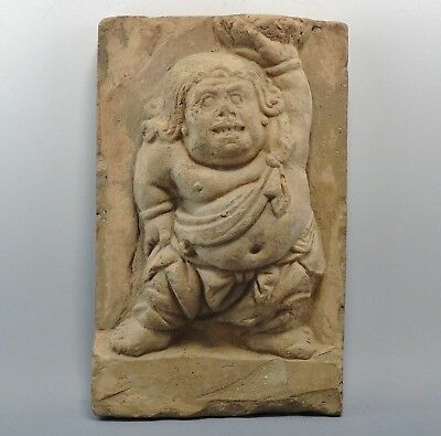 Chinese Song Dynasty Terracotta Tomb Tile Depicting A Dwarf (782G)