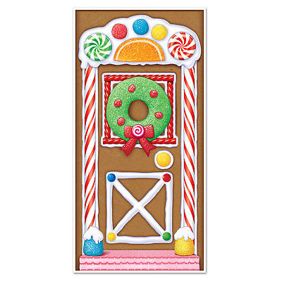 Christmas Gingerbread House Door Cover - 76 cm x 152 cm - Xmas Party Decorations