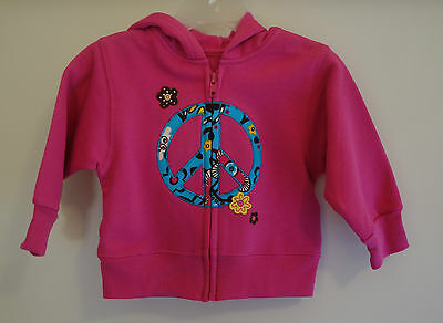 New In Bag Kelly's Kids Raspberry Rose Peace Sign Hoodie Girl's 3-4