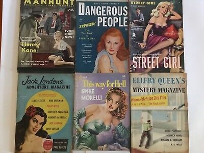Vintage Potboiler Books, S/6 Mid Century Girly Sleaze Pulp Fiction