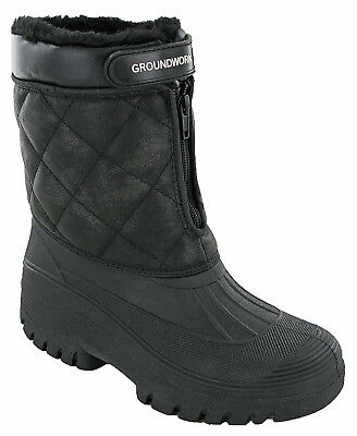 Groundwork Winter Snow Boots Quilted Zip Touch Fasten Waterproof Wellies Soft