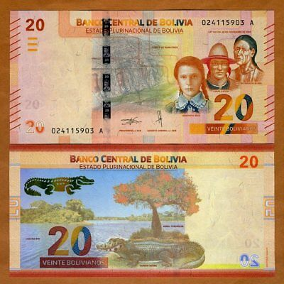 Bolivia, 20 Bolivianos, 2018 P-New, First redesign in 30 years, UNC > caiman